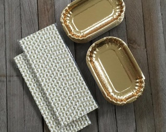 Metallic Gold Foil Mini Dessert Plates and Damask Paper Straws- 24 Plates and 50 Straws Gold, White- Wedding, Holiday,Cocktail Party Supply