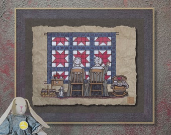 Nostalgic Amish Women Quilting Art Whimsical yesteryear print adds Americana art to sewing room wall decor as 8x10 or 13x19 amish print