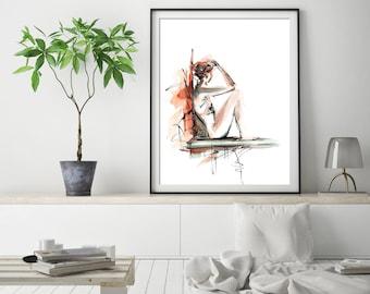 Female Figure Fine Art Print, Watercolor Painting Print, Woman Painting, Female Figure Painting, Modern wall art print