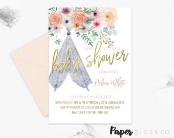 Teepee Baby Shower Invitation Template, Gender Neutral, Boho Baby Shower Invitation, Tribal, Floral, Gold, Printable Invitation