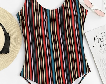 Stripe Swimsuit One Piece Backless Bathing Suit Vintage 80s 90s 70s Retro One Piece with Words Sayings Monokini Cover up Beach Festival Teen