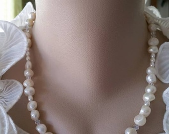 Pearl Necklace for Bridesmaid - White Freshwater Pearl, Single Strand Pearl Jewelry, Handmade Pearl Jewelry - Buy 5 Get 1 FREE