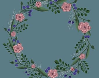 ANGELA floral wreath in blue and white