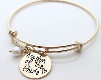 Mother of the Bride Bracelet - Mother of the Bride Gift - Gift for Mom Wedding - Gold Wedding Gifts for mom - Gold Charm Bracelet
