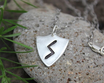 Rune shield necklace- Handmade fine silver Strength Rune or personalized runic symbols or initials- Elder Futhark -Sowulo- free shipping usa