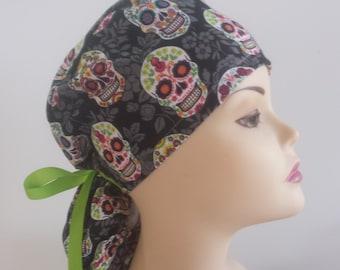 Surgical Cap ponytail stile-Sugar Skull/ Black Flower--cotton 100%