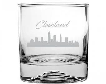 Cleveland Ohio Cityscape Etched Rocks Glass City Skyline Silhouette