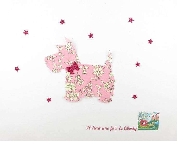Applied fusible dog scottish liberty Capel flex pink glittery liberty fusible applique patch iron-on dog coat