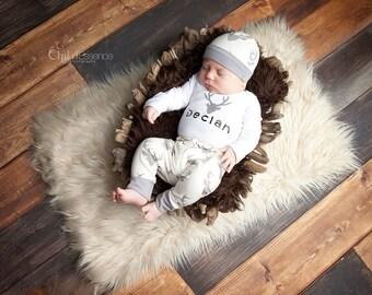 Boy Preemie Baby Clothes - Newborn - Boy Preemie - Personalized Deer