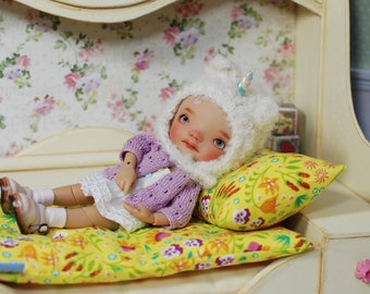 RESERVED For Vtverb Yellow Wooden Bed For Tiny Girl Dolls Diorama 1/6 Irrealdoll Lati Pukiefee Nikki Britt Ellemenno Cupcake SEVENTH PAYMENT