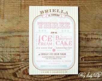 25 Ice Cream Parlor Birthday Invitations - By My Lady Dye