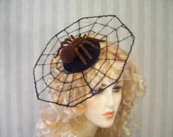 Halloween Spider Web Fasciantor With Brown Spider Spiderweb Halloween Party Head Piece