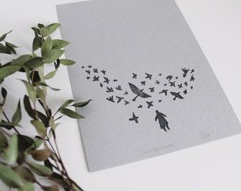 Murmuration - hand printed flock of starlings art print.