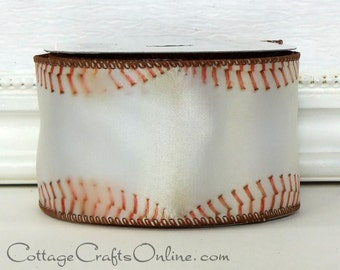 """Wired Ribbon,  2 1/2"""" wide,  Baseball Sports Print - TEN YARD ROLL - Offray """"Homer""""  Spring Sports Base Ball Craft Wire Edged Ribbon"""