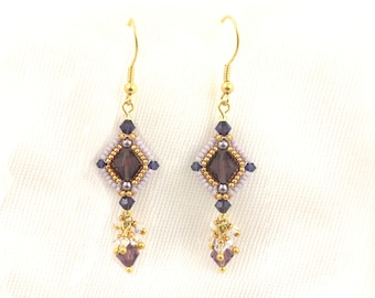 """Beading4perfectionists: """"Tinted Grace"""" earrings. ADVANCED beading pattern tutorial PDF file"""