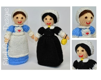 Doll Knitting Pattern - Nurse Doll - Nurse Gift - Toy Knitting Pattern - WWI Nurse - Florence Nightingale - Knit Doll - Doll Making - Yarn