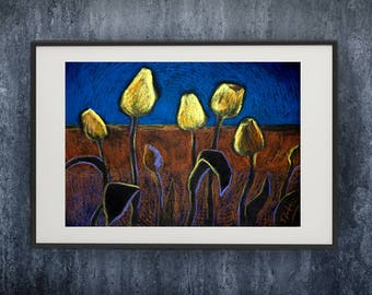 yellow tulips painting,yellow blue bright poster,Wall Hanging,pastel painting Still life,Extra Large Wall Art,ipg,gift,Contemporary art