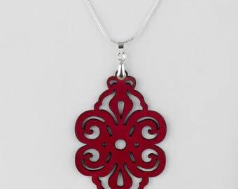 "Laser cut leather pendant ""Spirals"""