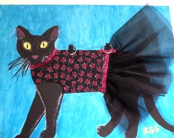 "18"" x 24"" Original Acrylic Tutu Cat Painting | 3D Mixed Media | Home Décor - Fine Art | Fairytale Dressed Black Cat | OOAK | Cat Lover Gift"