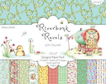 "Set of 24 paper two pockets 30.5 cm ""RIVERBANK REVELS"""