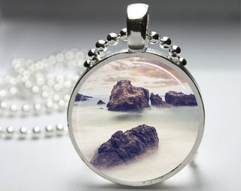 Pink Sky Mist Heaven Photography Round Pendant Necklace with Silver Ball or Snake Chain Necklace or Key Ring
