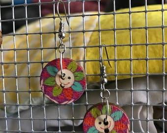 Wooden Flower Power Button Earrings