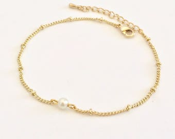 WAS 13.00, pearl gold bracelet, satellite chain, beaded chain, tiny, small, dainty, delicate, simple, wedding, bridal, bridesmaids