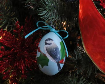 Chickadee & Holly Hand-Painted Gourd Ornament - Set of 4 - Teal