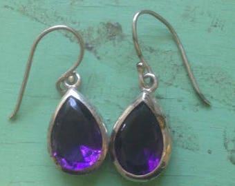 Large Sterling Silver and Amethyst Tear Drop Shape Dangle Earrings