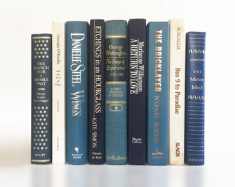 Vintage Book Set in Grey-Blue, Navy & White:Book Shelf Decor,Book Shelf Ideas, Wall Bookshelves,Book Decor,Book Bundle Stack,Instant Library