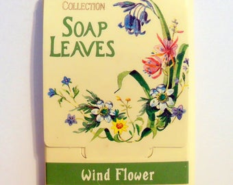 Vintage 1980s Wind Flower by Country Diary Collection (Village Bath) 0.07 oz Scented Soap Leaves in Packet