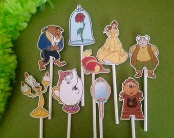beauty and the beast party, beauty and the beast cupcake toppers, beaut and the beast can toppers, beauty and the beast decorations