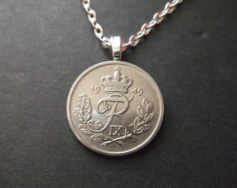 Danish 25 ORE Coin Necklace from Denmark dated 1949- Denmark Coin Pendant