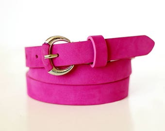 Free shipping! Pink belt, pink leather belt, suede belt, leather belt, belt for dress, waist belt, womans belt, belt for jeans, women belt