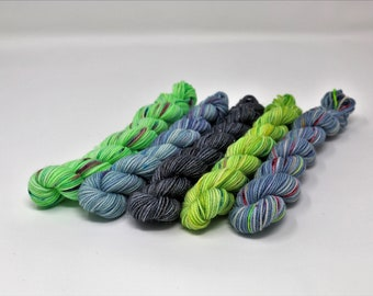 Mini Skein Kit- 5 Minis - Superwash - Variegated - Sparkle - 80/20 Merino/Nylon