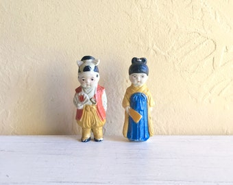 Pair of Painted Asian Figurines Couple Man and Woman Boy and Girl