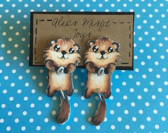 Sea Otter Clinging Faux Gauge Earrings