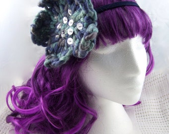 Blue & silver flower dreadlock hair tie/flower headband