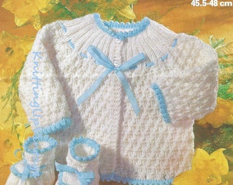 Baby Knitting Pattern pdf Vintage Matinee Jacket  and Bootees