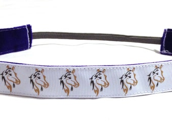 NOODLE HUGGER Non slip ribbon headband - horse sketches - 7/8 inch (running, working out, everyday: women and girls)