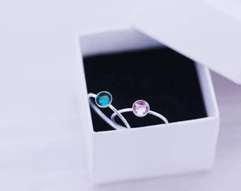 Set of 2 - Sterling Silver Stacking Ring - Birthstone Ring - Birthstone Stacking Ring - New Mom - First Baby - Baby Shower - New Baby Gift