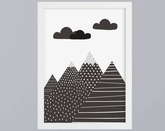 Mountains-art print without frame