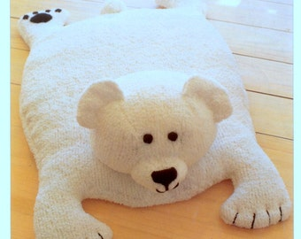 Vintage Knitting Pattern PDF Polar Bear Rug Play Mat