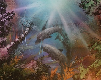 Spray Paint Art Seascape Under Ocean Dolphins