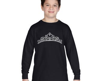 Boy's Long Sleeve T-shirt - Created using the word Princess Tiara