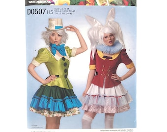 Simplicity D0507 Disney Alice in Wonderland Womens Mad Hatter & White Rabbit Steampunk Style Costume Cosplay Sz 6 14 Uncut Sewing Pattern