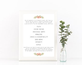 Young Women Theme - Instant Download, LDS 16X20