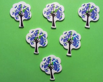 SET of 6 wood buttons: tree with Eggplant 30 * 25 mm