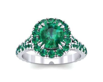 Bridge Initial Cushion-Cut Halo Emerald Engagement Ring, Ring, Engagement Ring, Halo Ring, Emerald, Emerald Ring, Emerald Jewelry, Ring