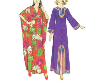 Retro 1970s Boho Hippie Style Caftan Simplicity 5315 Sewing Pattern House Dress Kimono Sleeve Robe Size Small